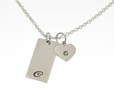 Initial Tag and Birthstone Heart Necklace