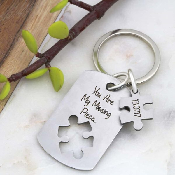 Puzzle Piece Cutout Key Ring
