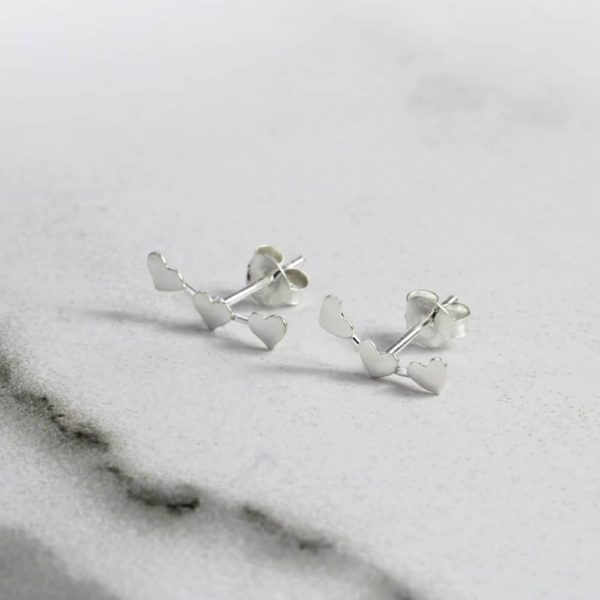 Triple Heart Climber Stud Earrings