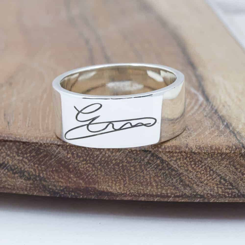 Bold engraved signature Ring