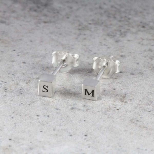 4 Sided Bar Cube Earrings