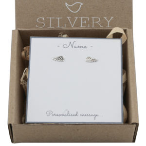 Antiqued Angel Wing Stud Earrings