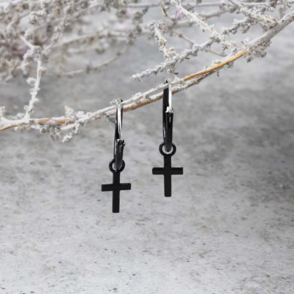 Black Cross Hoop Earrings