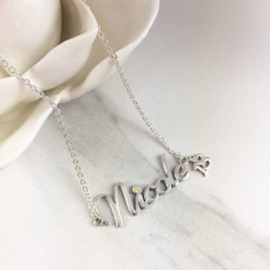 Number Birthstone Name Necklace