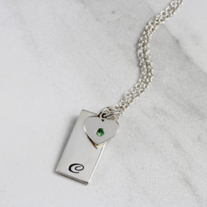 Initial Tag & Birthstone Heart Necklace