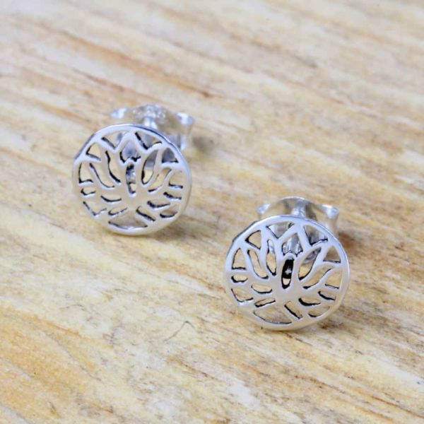 Lotus Flower Round Stud Earrings