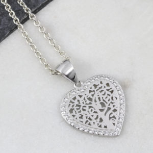 Tree Of Life Cubic Zirconia Heart Necklace