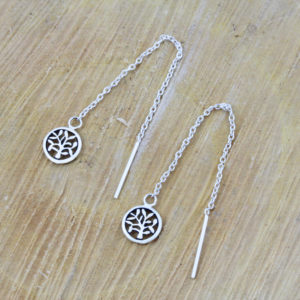 Tree Of Life Threader Earrings 1
