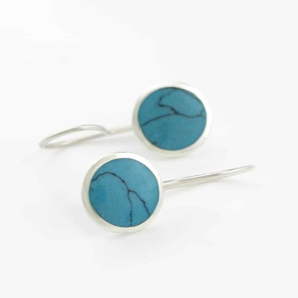 Round Stone Dangle Earrings
