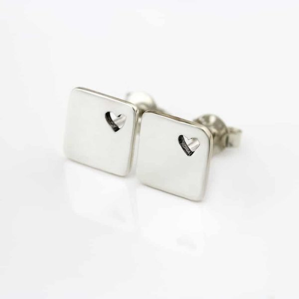 square heart stud earrings