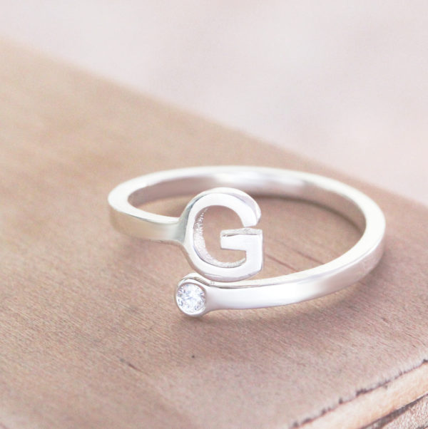 Adjustable Initial Birthstone Ring