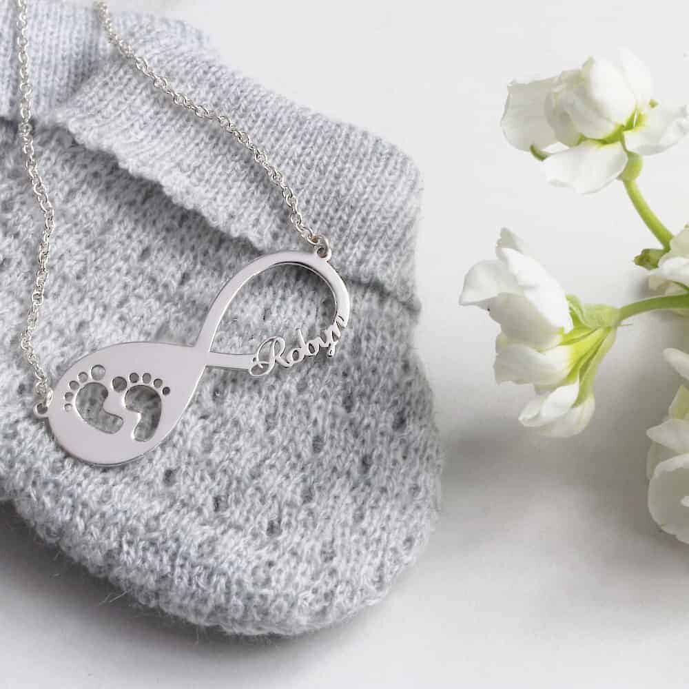 Baby Feet Infinity Name Necklace