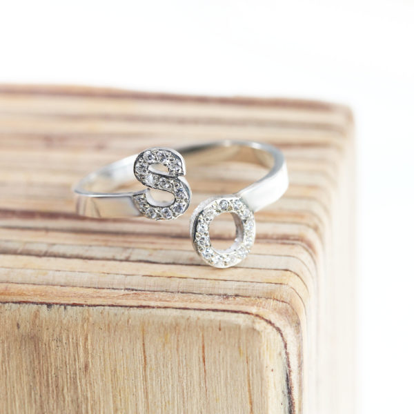 Cubic Zirconia Double Initial Ring