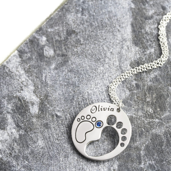Footprint Birthstone Necklace
