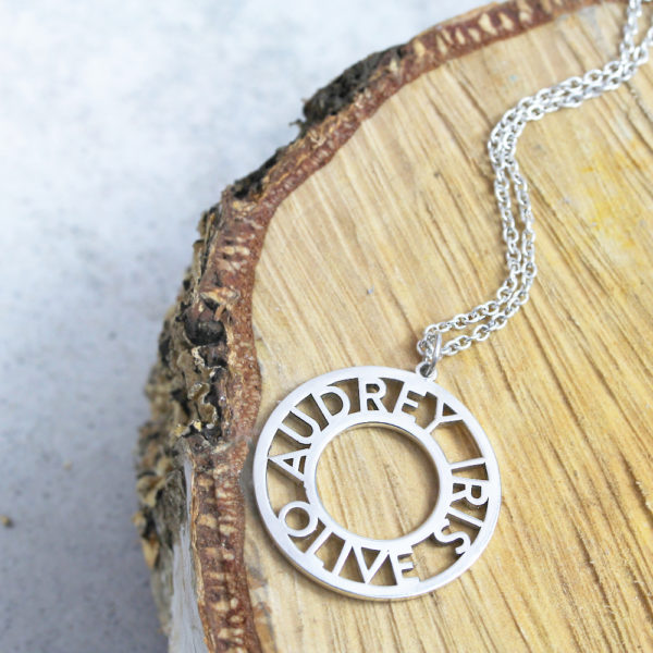 Roman Cutout Name Necklace