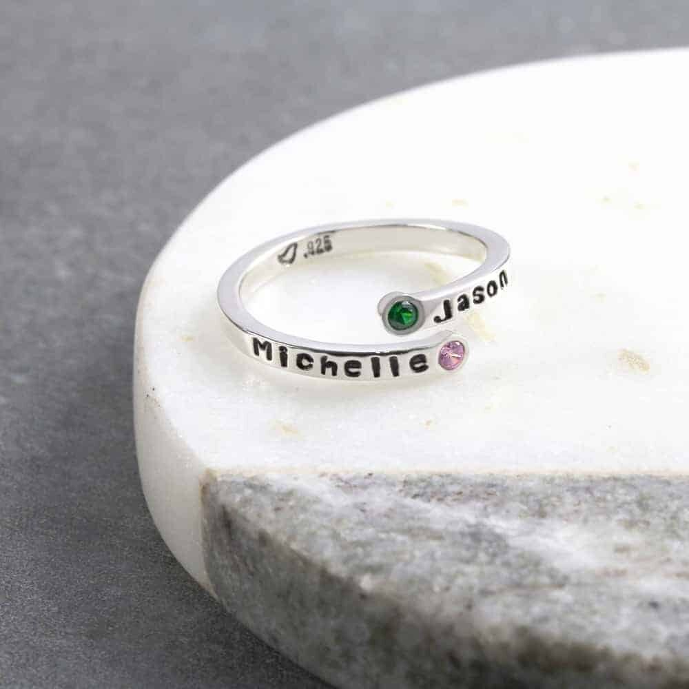 Hand Crafted Recycled Sterling Silver handmade hand forged hammered silver band Emerald Baby Keepsake Ring natural May Birthstone