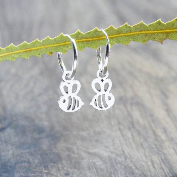 Bee Hoop Huggie Earrings