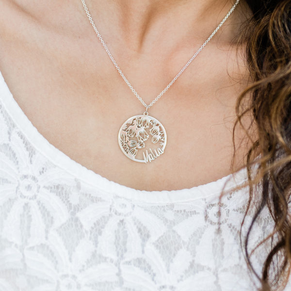 Tulip Coin Name Necklace