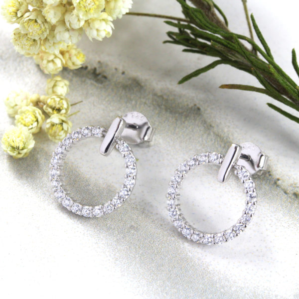 Sparkly Open Circle Stud Earrings