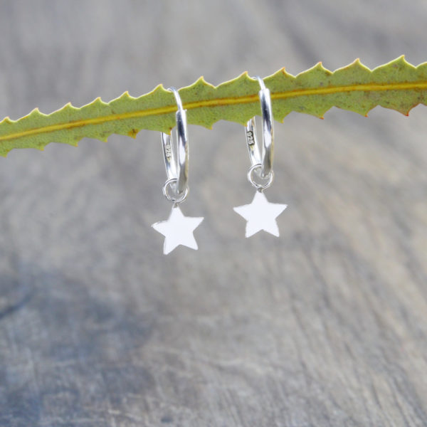 Star Hoop Huggie Earrings