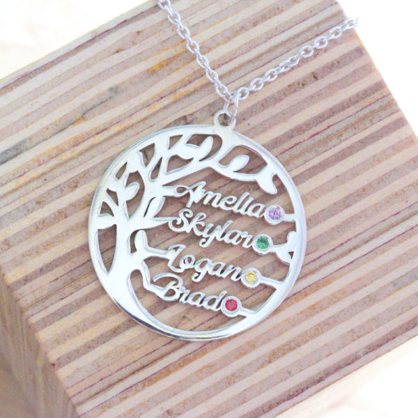 Family Tree Birthstone Name Necklace
