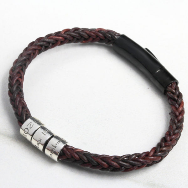 Message Braided Leather Bracelet - Dark Brown