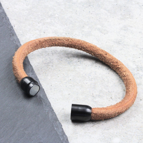 Round Leather Cord Bracelet - Natural