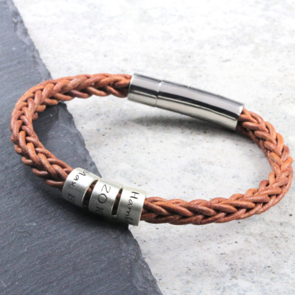 Message Braided Leather Bracelet – Natural