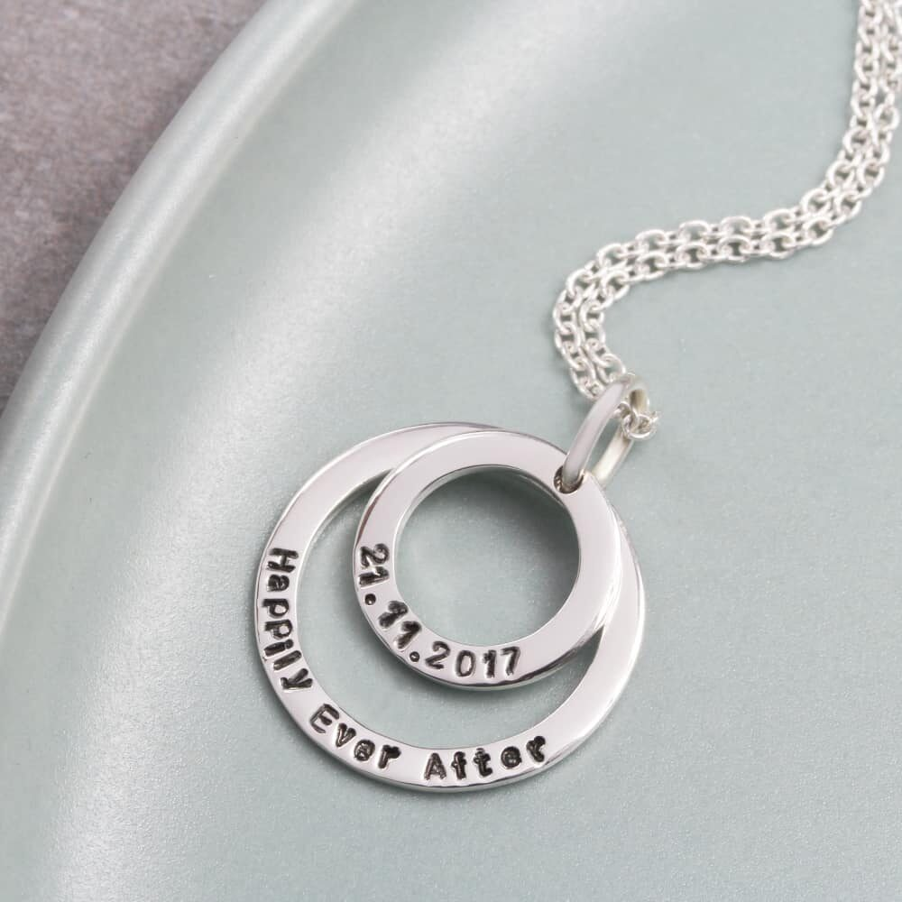 Personalised necklace Double Hoop Necklace silvery jewellery south africa