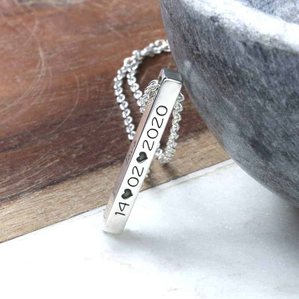 4 sided vertical bar necklace sterling silver