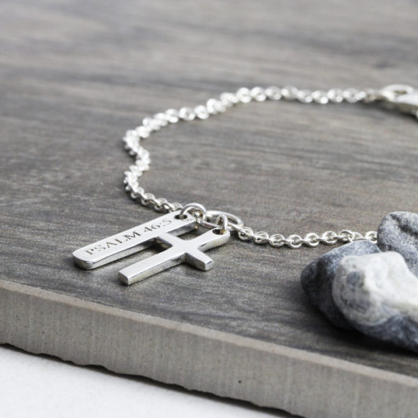 925 Sterling Silver Custom Bracelet Bar & Cross Bracelet