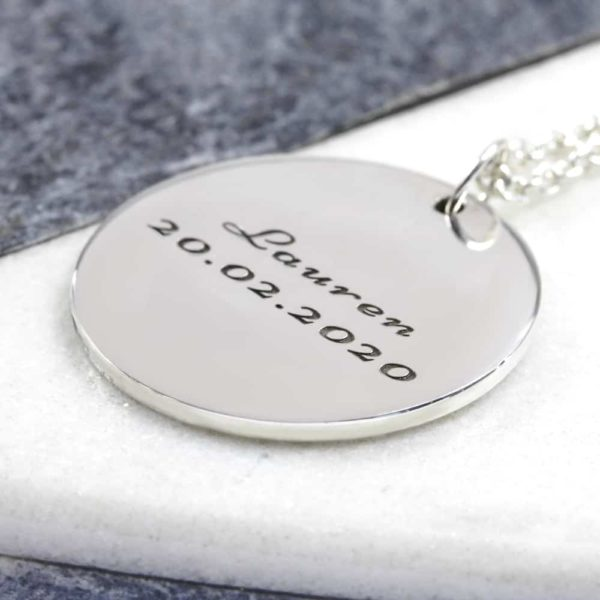 925 Sterling Silver 30mm Coin Necklace