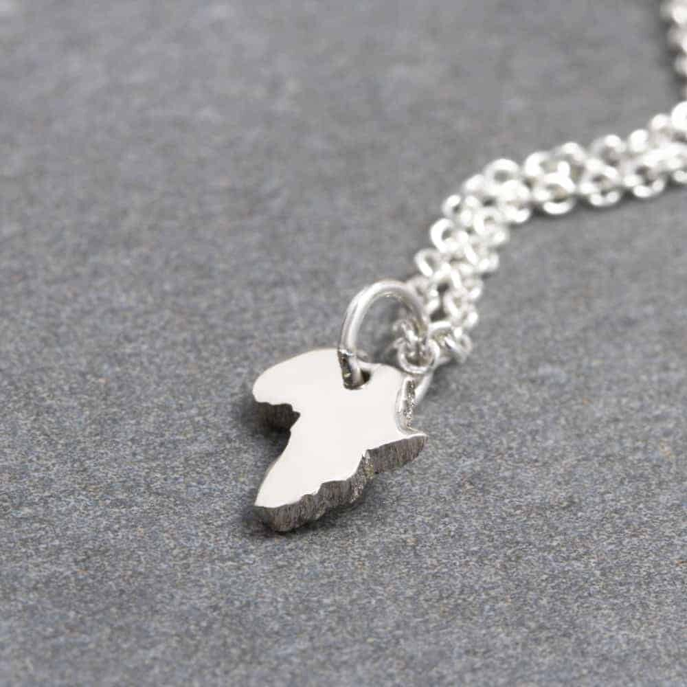 925 Sterling Silver Africa Pendant Necklace