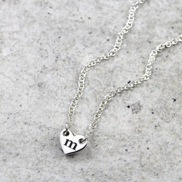 Custom Necklace Dainty Heart Initial Necklace Silvery Jewellery
