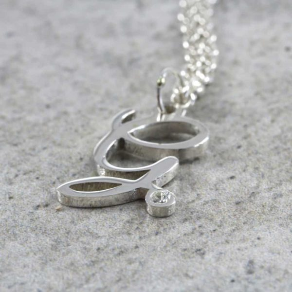 925 Sterling Silver Dainty Initial Diamond Necklace