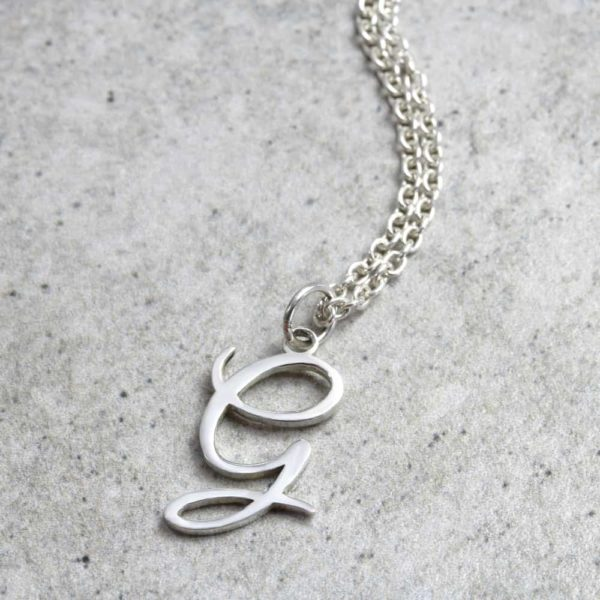 925 Sterling Silver Dainty Initial Necklace