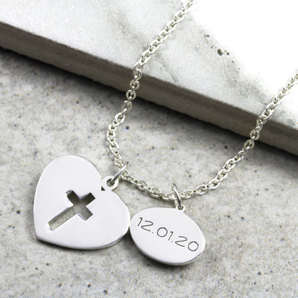 Custom Necklace Heart & Date Cross Necklace Silvery Jewellery