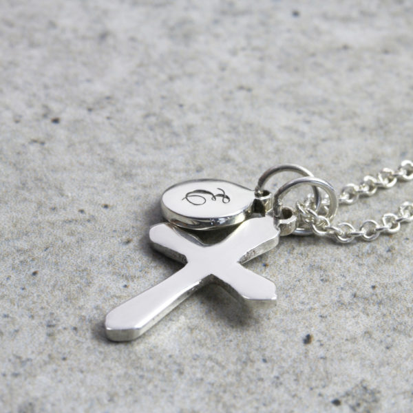 Custom Necklace Initial Cross Necklace Silvery Jewellery