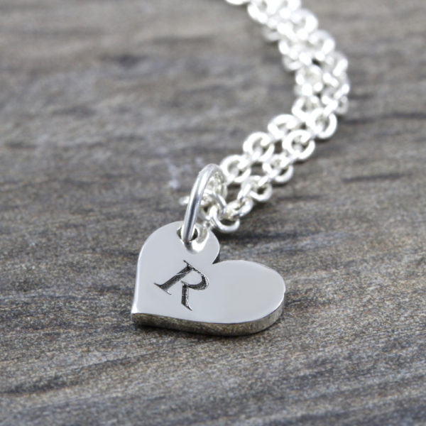 Custom Necklace Initial Heart Necklace Silvery Jewellery