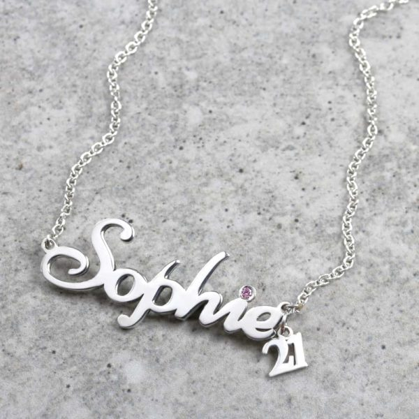 925 Sterling Silver Number & Birthstone Name Necklace