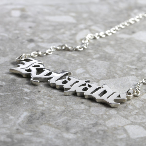 Custom Necklace Old English Name Necklace Silvery Jewellery