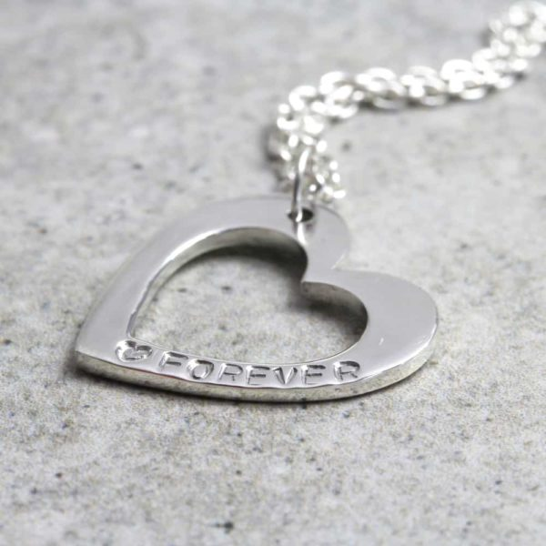 925 Sterling Silver Personalised Open Heart Necklace