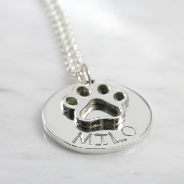 925 Sterling Silver Personalised Paw Necklace