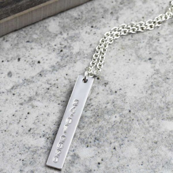 Custom Necklace Vertical Wide Bar Necklace Silvery Jewellery South Africa