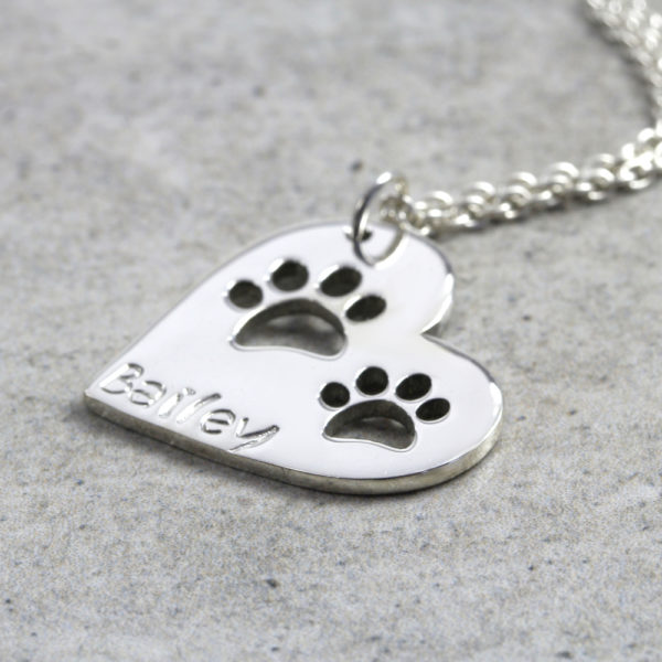 Custom Necklace Double Paw Print Heart Necklace Silvery Jewellery South Africa