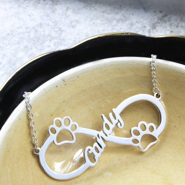 925 Sterling Silver Double Paw Infinity Necklace