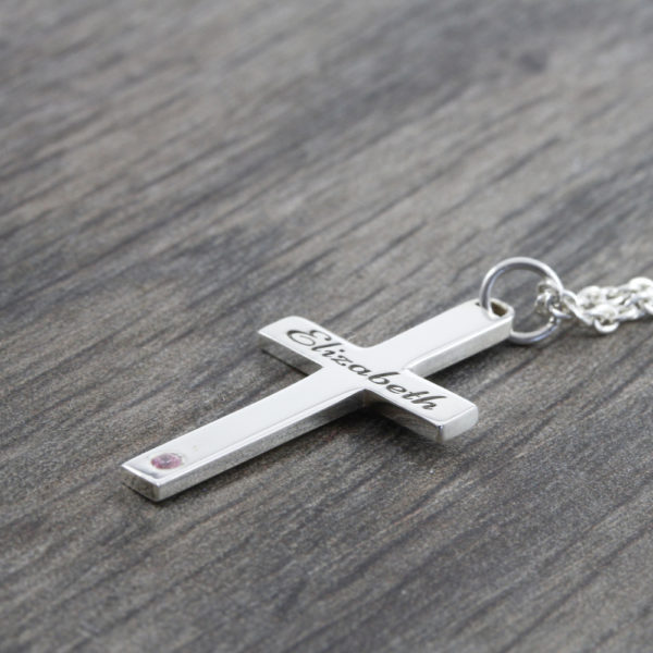 Engraved Cross & Birthstone Necklace