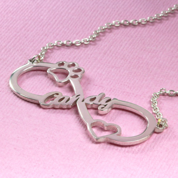 925 Sterling Silver Heart & Paw Infinity Necklace