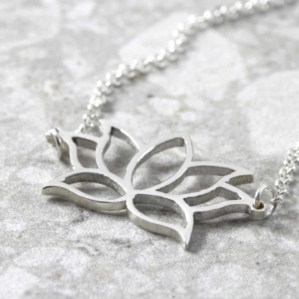 Lotus Flower Necklace Silvery Jewellery