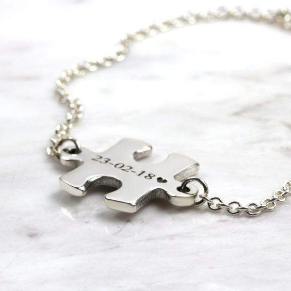 Personalised Bracelet Puzzle Piece Bracelet Silvery Jewellery South Africa